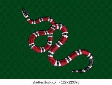Red snake vector with seamless green pattern