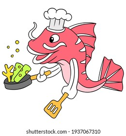 red snapper is cooking as a chef holding a frying pan, vector illustration art. doodle icon image kawaii.