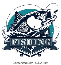 Red snapper with rods and ocean waves fishing logo isolated on white vector illustration.