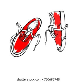 Red sneakers.  Hand drawn sketch vector illustration on white background.