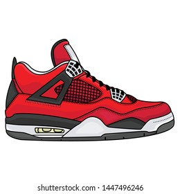 red sneakers outfit men, vector EPS 10