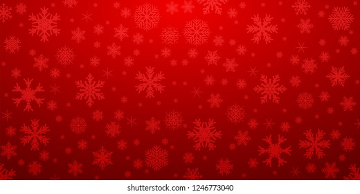 Red snowflake background with transparent snowflakes - stock vector