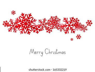 Red snowflake border for Your design