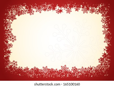 Red snowflakes Christmas frame over beige background.