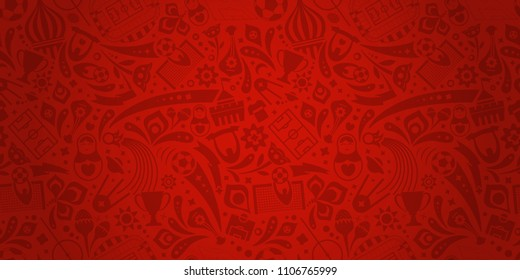 Red soccer championship trendy pattern. Vector ornament