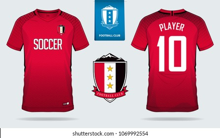 Red Soccer jersey, football kit, t-shirt sport, template design for sport club. Football t-shirt mock up. Front and back view soccer uniform. Flat football logo on blue label. Vector Illustration