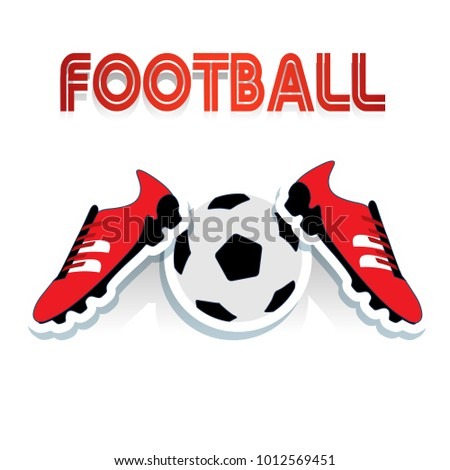 f9c553580 Red soccer shoes and soccer ball, and football inscription, cartoon on  white background,