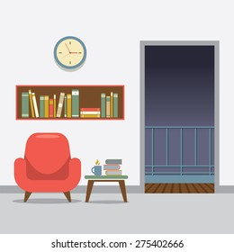 Red Sofa With Bookcase Vector Illustration