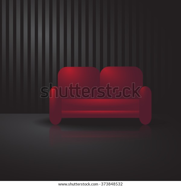 Red Sofa Dark Room Stock Vector (Royalty Free) 373848532
