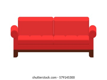 Red sofa. Icon of furniture for an house interior, living room: classic or modern and vintage cozy couch. Vector flat colorful illustration isolated on white background.