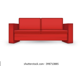 Red sofa isolated on white background. Vector illustration