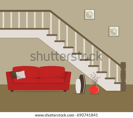 Red Sofa Located Under Stairs There Stock Vector Royalty Free