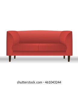 Red sofa for modern living room reception or lounge single object realistic design. Vector illustration.
