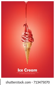 Red soft ice cream cone, Pour melted red syrup, strawberry raspberry fruit flavor, Vector illustration