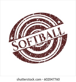 Red Softball rubber stamp with grunge texture