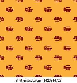 Red Solar energy panel and battery icon isolated seamless pattern on brown background. Vector Illustration