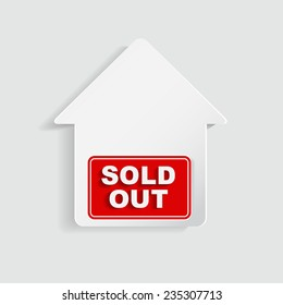 Red Sold For Sale Real Estate Sign Isolated on a White Background
