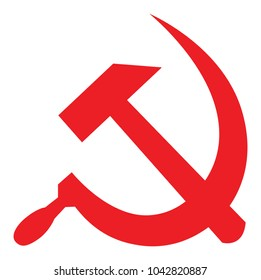 Red Soviet hammer and sickle, USSR symbol red on white vector illustration