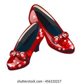 Red sparkly shoes with inserts of precious stones rubies. Vector illustration.
