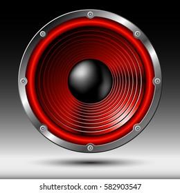 Red speaker isolated on dark background.