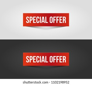 Red special offer banner with shadow on white and dark background. Vector illustration.