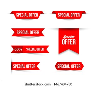 Red special offer banners with shadows on white background.