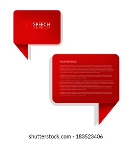 red speech box background vector illustration infographic bubble communication for text and message design eps10