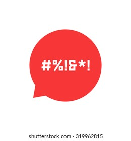 red speech bubble with abstract swearing. concept of parental advisory explicit content, hashtag, cursing. isolated on white background. flat style trend modern logo design vector illustration