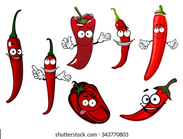 Red spicy hot chilli and sweet juicy bell peppers vegetables cartoon characters with happy smiling faces, for healthy spice or agriculture theme