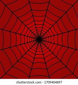 Red spider web background. Vector Illustration.