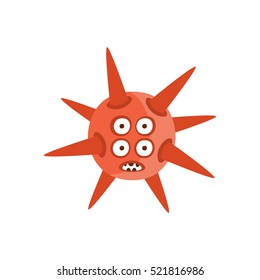 Red Spiky Aggressive Malignant Bacteria Monster With Sharp Teeth And Four Eyes Cartoon Vector Illustration