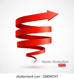 Red spiral arrow 3D.