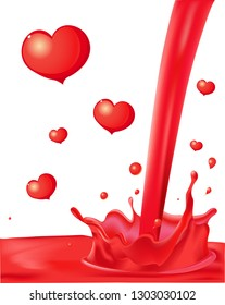 Red Splash with Valentines Heart Abstract Love Vector Illustration Design