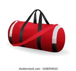 Red sport bag for sportswear and equipment icon isolated on white background, workout, training, fitness, vector illustration