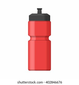 Red Sport bottle icon for water icon in flat style isolated on white background. Sipper vector