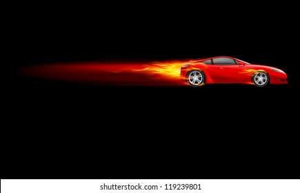 Red Sport Car. Burnout design. Illustration on black