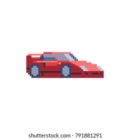 Red sport car. Pixel art. 8-bit sprite. Sticker design. Isolated vector illustration.