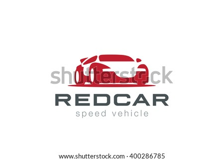 Red Sport Car Silhouette Logo Design Stock Vector Royalty Free