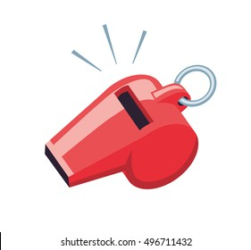 Red sport coaches whistle icon isolated.