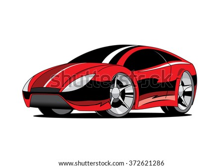 Red Sport Coupe Car Cartoon Kids Stock Vector Royalty Free