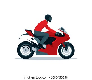 Red Sport motorcycle and rider in simple graphic isolated on white background vector illustration