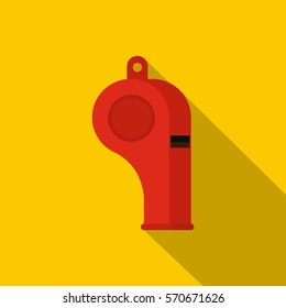 Red sport whistle icon. Flat illustration of red sport whistle vector icon for web   on yellow background