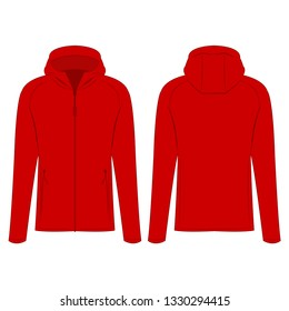 Red sport zipped jacket with hood isolated vector on the white background
