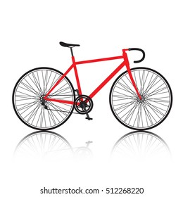 red sports bicycle isolated on white background.Vector bike