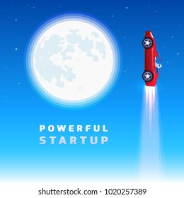 Red sports car launches like a rocket. Modern cabriolet flying away near the huge Moon. Upward roadster with a space driver means the availability of free space travels in the future. Sign of startup.