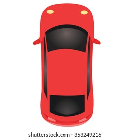 Red Sports Car Top View Cartoon Vector