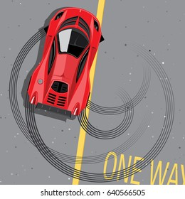 Red sports car top view. Drifting on the street. Vector illustration