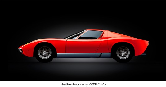 Red sports car.  Vector illustration
