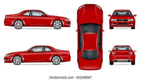 Red sports car vector mock-up for advertising, corporate identity. Isolated coupe car template on white. Vehicle branding mockup. All layers and groups well organized for easy editing and recolor.