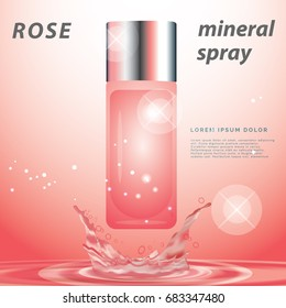 Red spray mineral water injected to refresh For women's makeup It is a popular cosmetics,  Skin care products for women,banner square for banner design website,3d Vector illustration for makeup,
